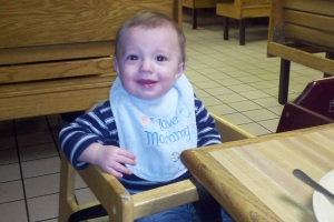 Roland tries a highchair